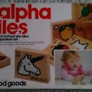 Vintage preschool wood Goods Wooden Alpha Tiles alphabet set original box 1980