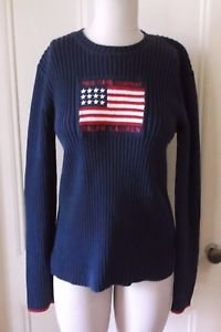 Womens Polo Jeans Company Ralph Lauren American Flag Ribbed Knit Sweater XL Navy