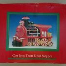 NOS Christmas Cast Iron Train Door Stopper In Box Painted New Horizon of Yonkers