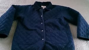LL Bean Kids Girls Quilted Barn Work Snap Up Jacket Coat L Large 14 16 navy blue