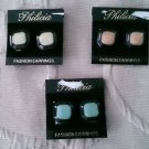 Lot 3 pairs Philicia Button Earrings Costume Jewelry Clip on Vintage Crafting