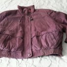 NOS Vintage Falls Creek Leather Bomber Style Jacket womens Large Raspberry Korea