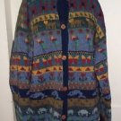 Vintage LL Bean Wool Button Up Country Scene Animals Sweater Jacket Womens XL
