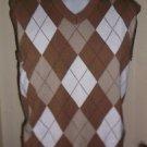 Mens Scottish Winds Knit Lined Argyle Golf Windbreaker Sweater Vest XL Cotton
