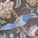 2008 The Robert Allen Group Woven Jacobean Fabric Blue Birds & Flowers Upholstry