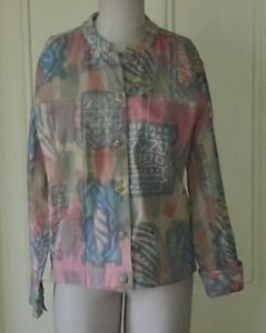 Orvis Pastel Aztec Abstract Collarless Art to Wear Jacket womens size Small