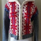 Express Tricot Full Zip Up knit Sweater Jacket Womens sz M British Crown Colony