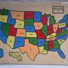 NOS UNITED STATES Map Wooden Wood Puzzle VINTAGE 1987 Educational Homeschool New
