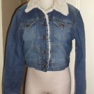 Aeropostale Handle with Love Cropped Faux Shearling Trim Denim Jean Jacket L