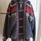 Nordstrikk Wool Knit Nordic Fair Isle Pewter Clasp Cardigan Sweater Womens sz L