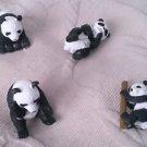Lot 4 Panda Bears Safari Ltd Wild Animals Asian Play Toys RUBBER Figures 1.5""