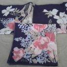 3 Vintage Vergo Screen Printed Pink Floral Flowers Linen Cloth Napkins purple