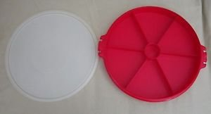Vintage Large 7 Sectioned Red Tupperware #405-1 Covered Dish Tray with Lid USA