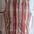 Liz Claiborne Plaid Checked Winter Puffer Vest Womens XL Zip Stand up Collar