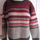 Womens Vintage Woolrich Crewneck Pullover Wool SWEATER Nordic Fair Isle Ski L
