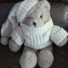 "Vintage 16"" 1985 Love Land Knit Sweater & Hat Teddy Bear Plush Stuffed Animal"