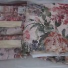 NOS 80s JCPenney Classic Traditions Majestic Floral King Bedskirt 2 Pillow Shams
