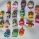 LOT OF 19 SQUINKIES PEOPLE ANIMALS TV PRESENT PRETEND PLAY TOYS