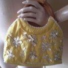 Yellow Floral Silk/Sea Shell/Wood Wooden Handles Handbag Clutch  Purse Flowers