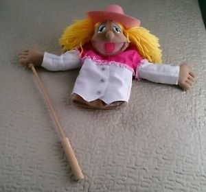 "Melissa & Doug Cowgirl Doll hand stick Puppet Big Mouth Sally Pink Hat 16"" plush"