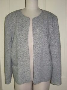 Orvis Wool Tweed Collarless Wrap Open Front Jacket blazer womens M