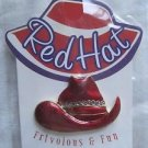 Red Hat Cowboy Pin Brooch For Ladies of The Society 18 kt Gold Finish DM #RH109