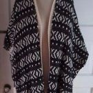 Forever 21 Knit Aztec Open Front Fringed Shawl Cape Wrap Serape Sweater Jacket M