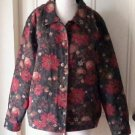 Tog Shop Tapestry Brocade Poinsettia Jacket Blazer Womens XL Christmas Holiday