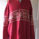 Lands End Direct Nordic Fair Isle Birds Eye 1/4 zip Turtleneck Sweater Mens XL