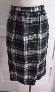Vintage Womens 80s LL Bean Tartan Scotch Plaid Pleated Wool Skirt 12 Belt Loops
