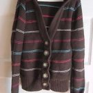 Girls Old Navy Hooded Striped Knit Button Up Cardigan Sweater Jacket XL 14