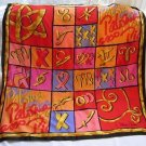 80s PALOMA PICASSO PARFUMS Italy Large 35x35 Colorblock Pop Art Head Scarf Wrap