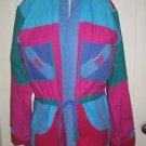 Colorblock Patchwork Quilted Wrap Open Front Collarless Conversion sleeve jacket