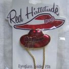 Red Hattitude Hat Society Eyeglass Holder Pin Brooch 18 kt Gold Finish with Bow