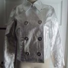 Ralph Lauren Jeans Co Metallic Silver Double Breasted Pea coat Anchor Buttons PM