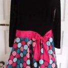 Bonnie Jean Big Girls Chocolate Velvet Bodice Polka Dot Satin Flounce Dress 16