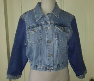 Jeanology Newport News Cropped Denim Blue Jean Knit Sweater Sleeves Jacket sz 12