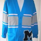 Vintage Dehen Letterman Varsity Button Up Front Cardigan Knit Sweater Mens M USA