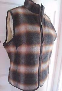 LL Bean Lumberjack Plaid Wool Faux Vegan Shearling Lined Zip Vest Womens M 0BMH9