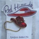 Red Hattitude Hat Society Eyeglass Holder Pin Brooch 18 kt Gold Finish Flower