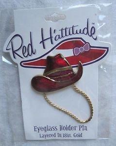 Red Hattitude Hat Society Eyeglass Holder Pin Brooch 18 kt Gold Finish Cowboy