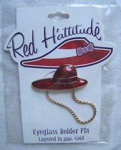 Red Hattitude Hat Society Eyeglass Holder Pin Brooch 18 kt Gold Finish Long Brim