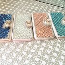 iPhone 5, 5s, SE Crystal Bow Wallet Case, Rhinestone Case, Diamond Case