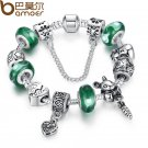 Silver Green Bead Animal Best Friend Charm Bracelet with Safety Chain for Women Original Jewelry