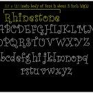 2 Inch High Curlz Upper and Lower Case Alphabet Rhinestone Font Flock Template