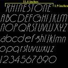VR1R 1.9 Inch High Alphabet Upper & Lower & 0-9 Number Deco Full Rhinestone Flock Template