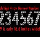 VR4RSS10 3 Inch High 4 Row 0-9 Narrow Number Rhinestone Flock Template