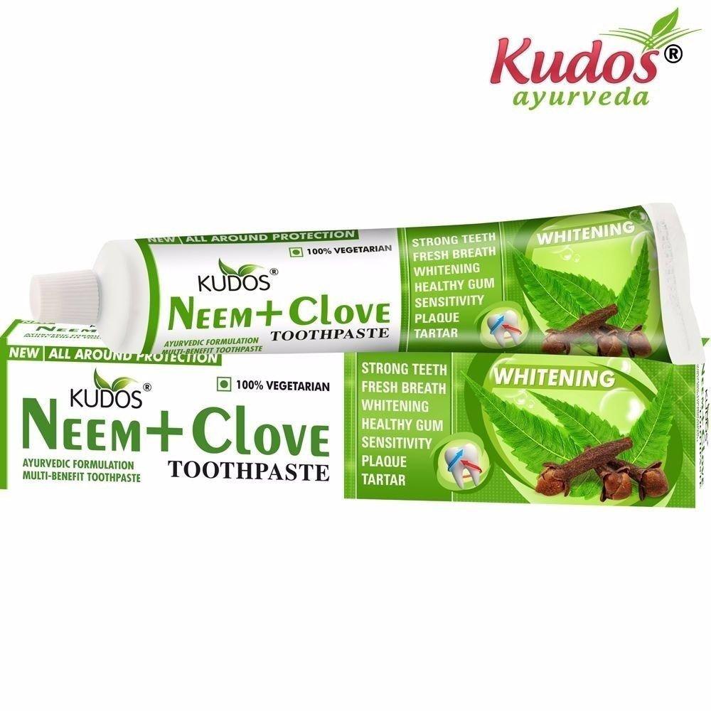 Kudos Ayurveda Neem+Clove Toothpaste -Makes teeth white-100Gms