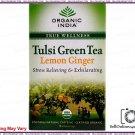 100% Pure Organic India Tulsi Green Tea Lemon Ginger-18 Tea Bags