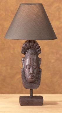 African Tribal Mask Lamp